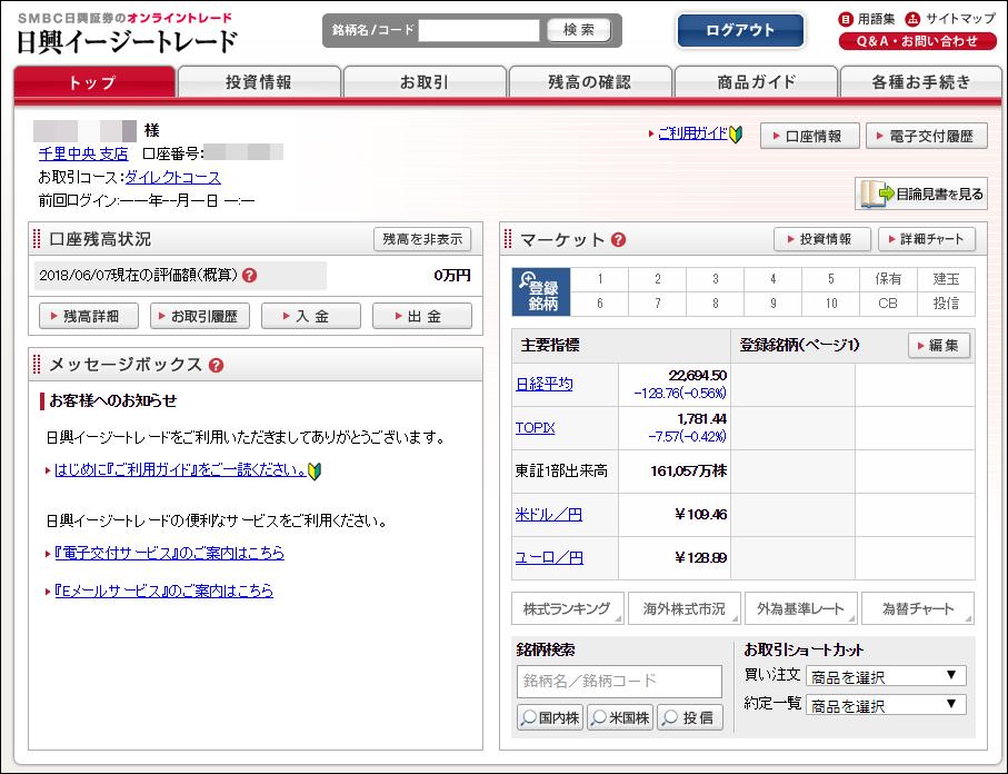 SMBC日興証券 初回ログインが完了