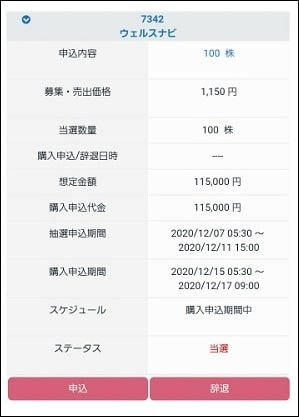 CONNECT証券 IPO当選
