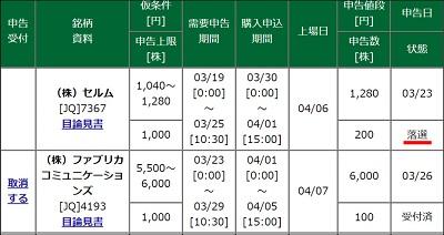 松井証券 IPO抽選 確認